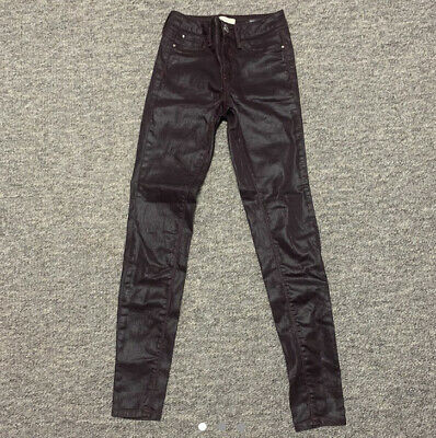 River Island Leather Look Coated Skinny Jeans Size 6R • 10£