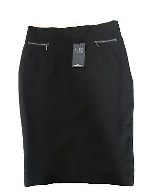 Ladies Black Knee Length Skirt From Marks And Spencer  - Size 10 • 1.60£