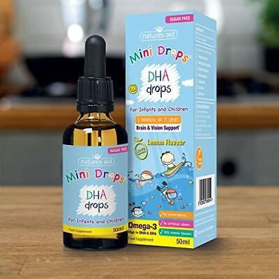 Natures Aid DHA Omega-3 Mini Drops For Infants And Children, Sugar Free, 50 Ml • 8.99£