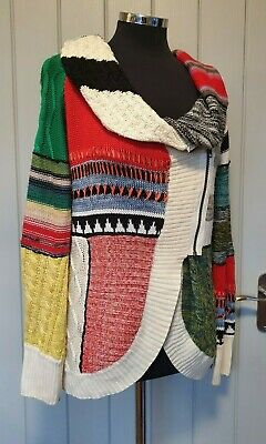 Desigual Why Multicoloured Cowl Neck Cardigan Size Small 8/10 Long Sleeve • 29.95£