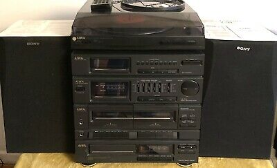 AIWA Stereo System CD Player Turntable Radio Tape Deck X2 Remote Sony Speakers • 69.99£