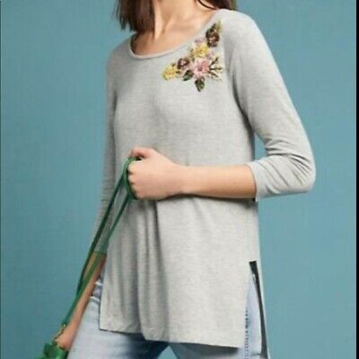 $ CDN10.44 • Buy Pure + Good Anthropologie Cranbourne Gray Floral Embroidered Tunic Size XS