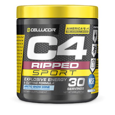 AU33.50 • Buy Cellucor C4 Ripped Sport Arctic Snow Cone 246g Pre Workout 30 Serves Exp 04/22