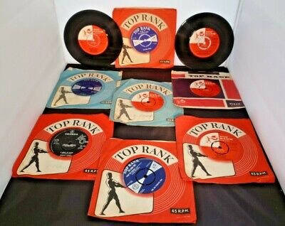 """Top Rank Vinyl 7"""" Records X 9, Various Artists/Titles Nice Collection Some Rare  • 10.99£"""