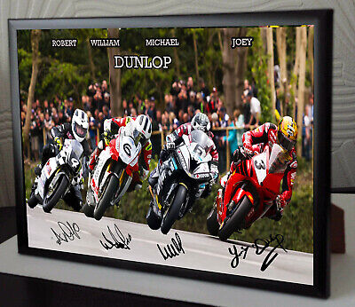Joey Robert William Michael Dunlop Unique Framed Canvas Signed  Great Gift    • 17.99£
