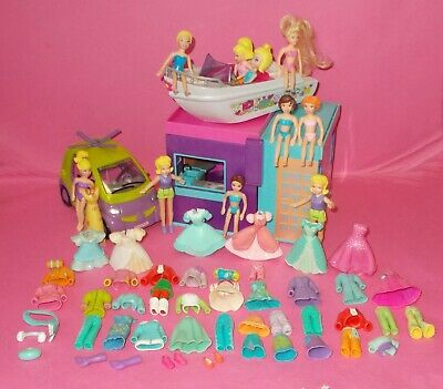 Polly Pocket Lot 1 Dolls House Car Boat Bundle Clothes Clothing Shoes • 25£