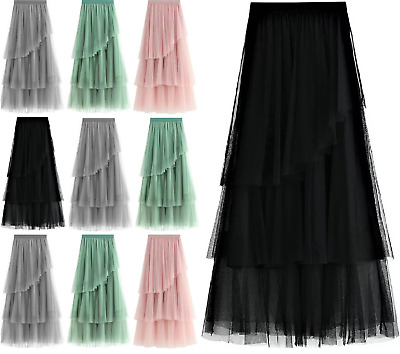 Women High Waist Ruffle Mesh Tutu Maxi Skirt Sheer Net Tulle Pleated Long Dress • 10.99£
