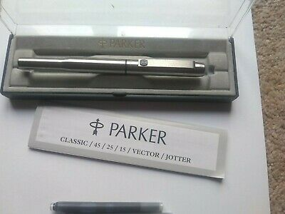 Parker 25 Blue Trim Fountain Pen From 1996 , Boxed With 2 Cartridges • 18£