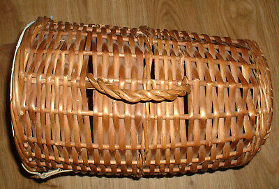 Vintage Wicker Cat Basket Small Dog Carrier Vet Trips Car Journeys • 25£