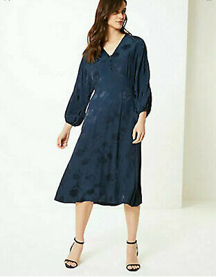 Pretty M&s Collection Navy Blue Silky Jacquard Fit And Flare Dress Uk 12 Party • 17.99£