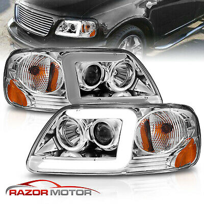 $161.25 • Buy [LED C Light Bar]FIT 1997-2003 Ford F-150 Halo Ring Projector Chrome Headlights