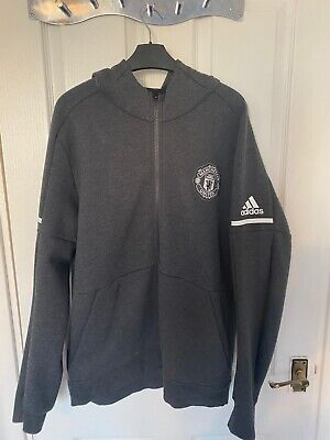 Mens Adidas Manchester United Grey Hoodie Large • 40£