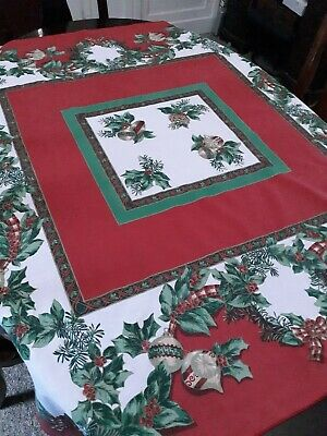 $ CDN13.05 • Buy Vintage Christmas Tablecloth Square 52x52 Red Pine Cones Ornaments Bows