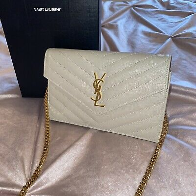Saint Laurent Blanc Vintage Embossed Monogram Quilted Leather Gold Chain Bag WOC • 695£