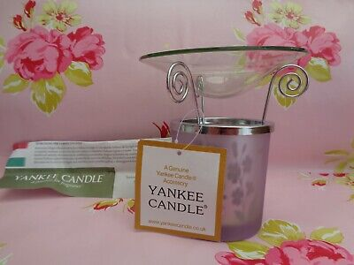 New! Rare Yankee Candle Christmas Lilac Butterfly Small Shade & Melt Warmer Set  • 24£