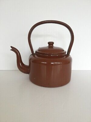 Vintage Retro Enamel Metal Kettle Brown Painted Teapot Stove Top Old Fashioned • 10£