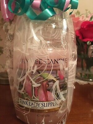 Rare Retired New Large Yankee Candle Pink Lady Slipper Rose Jar Gift Wrapped • 55£