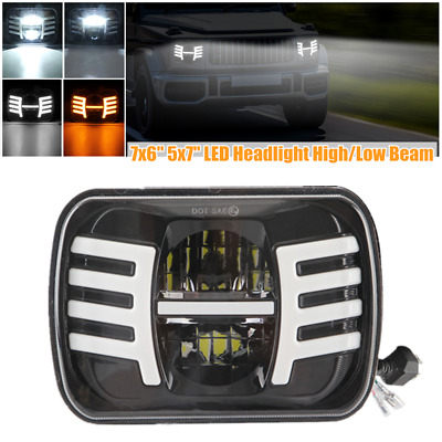$ CDN73.06 • Buy 7  Car Square Headlamp 7x6  5x7  LED Turn Signal Day Light Projector Hi/Lo Beam