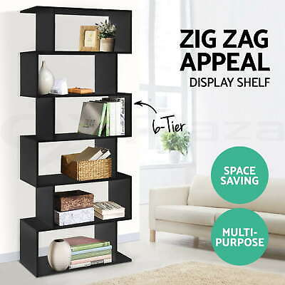 AU118.95 • Buy 6 Tier Display Cabinet Bookcase Display Shelf Storage Cabinet Shelves Black