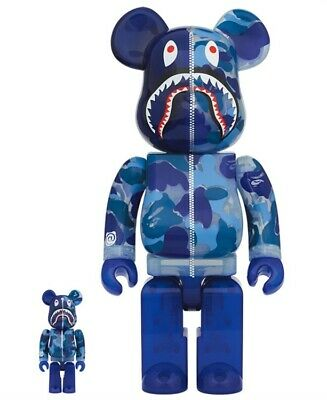 $753 • Buy Be Rbrick Clear Abc Camo Shark 100 400 Blue Bearbrick Bape Vape A Bathing Ape