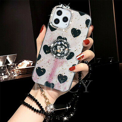 For IPhone Diamonds Bling Glitter Case Cover With Shining Ring Kickstand & Strap • 4.98£