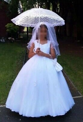 Custom Made First Holy Communion Dress + Parasol, Bag And Veil. Bought £1000+ • 150£
