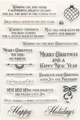 18 Christmas Messages Clear Stamps/xmas Saying/sentiments Words/images Stamp • 6£