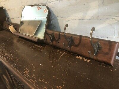 Antique C1920's Hallway Wall Mounted Coat Hooks With Mirror • 45£