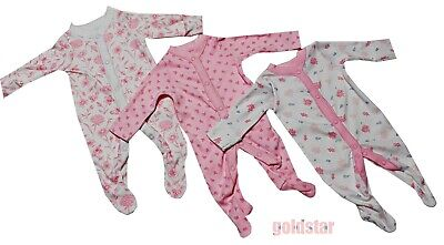 3-Pack New Nutmeg COTTON  SLEEPSUITS BABYGROWS Girls Pink White Flowers • 9.99£