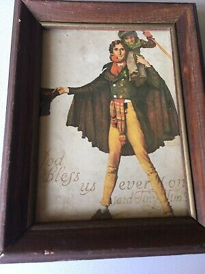 $ CDN13.08 • Buy Norman Rockwell Tiny Tim Print GOD BLESS US EVERYONE-FRAMED WOOD-WIRE-8.5 X 6.5