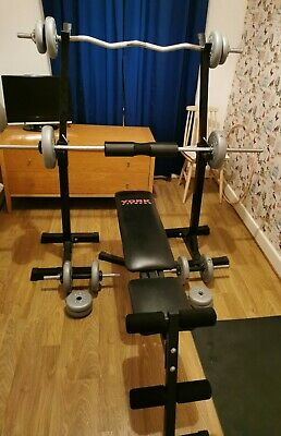 York Fitness Bench, Stand, 1 Barbell, 1 W Bar, 2 Dumbbell, 32.50kg Of Weights • 226£