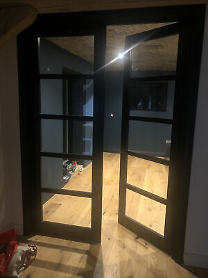 Industrial Crittal Double Door Set Black Internal Interior Clear 5 Pane Glazed • 20£