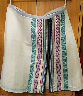 Womens Skirt St-Martins XL Cotton Linen Cream And Patchwork Stripes New No Tags • 15£