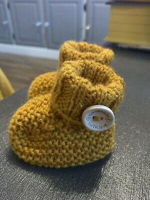 New Hand Knitted Baby Boys Mustard Bootees 0-3 Months • 1.50£