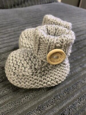 New Hand Knitted Baby Boys Grey Bootees 0-3 Months • 1.50£