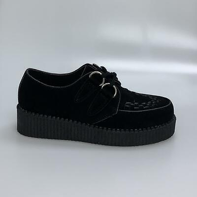 Womens Black Platform Lace Up Ladies Flats Creepers Punk Goth Shoes Size 3-8 • 9.99£