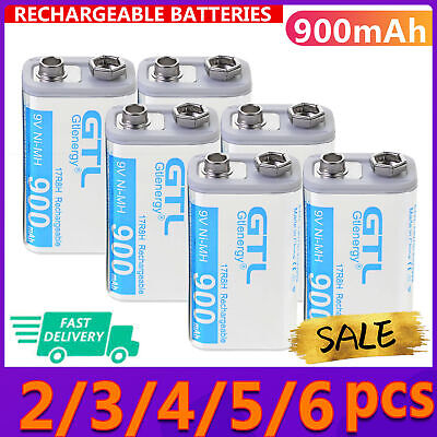 AU10.66 • Buy 2-6 Pcs Durable 9V 9 Volt 900mAh Power Ni-Mh Rechargeable Battery Cell PPS White