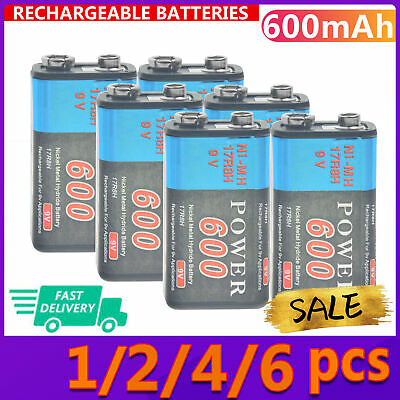 AU16.53 • Buy 1-12x 600mAh 9V Rechargeable Battery Volt 9 Block Ni-Mh Power Black PPS Durable