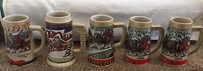 $ CDN128.29 • Buy Budweiser Holiday Beer Steins Lot Of 5 Collection