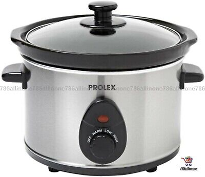 Ceramic Slow Cooker 2.5L Silver 3-Settings Removable Pot Safe Cool-touch Handles • 23.50£