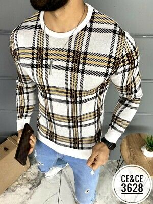 $19.50 • Buy New Mens Long Sleeve Slim Fitted White Pullover Sweater Orange Black Plaid