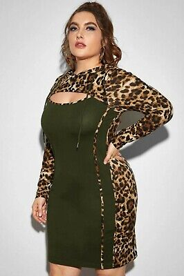 $ CDN34 • Buy Plus Size Hoodie Dress Long Sleeve Green Leopard Print #1120 4X Fits 22W 24W