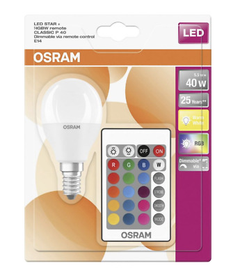 £10.95 • Buy Osram LED Star Colour Changing Golf Ball E14 Bulb RGBW Dimmable Remote Control