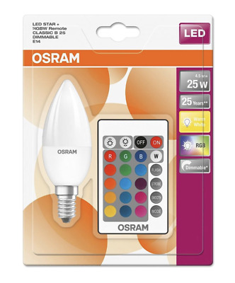 £10.95 • Buy Osram LED Star Colour Changing Candle SES E14 Bulb RGBW Dimmable Remote Control