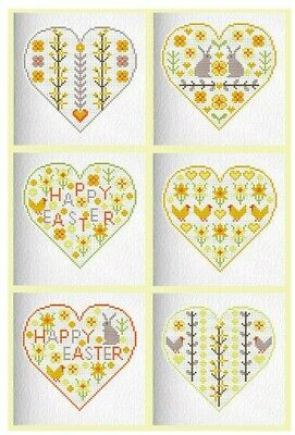 6 CROSS STITCH GREETINGS CARDS KIT Spring Easter Hearts RIVERDRIFT HOUSE • 20.95£