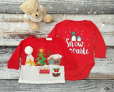 Baby Red Christmas Jumper And Bodysuit 2 Piece Bundle  Age 0-3 Months  • 4.50£