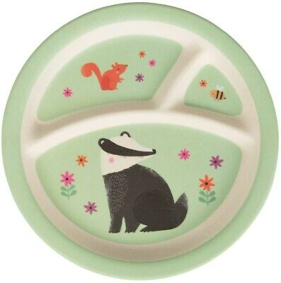 £3.95 • Buy Woodland Friends Kids Toddler Bamboo Plate Sections Cute Lunch Dinner Childrens