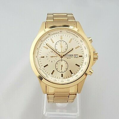 Citizen 0510-s086051 Mens Chronograph Watch Gold Dial Date Pvd Gold Plated • 49.99£