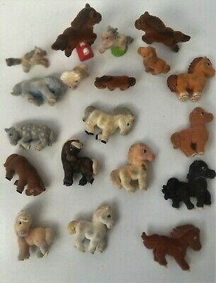VARIOUS VELVET FEEL MINIATURE 3~4cm TOY HORSES With A Few Accessories ~ Lot 19 • 2.45£