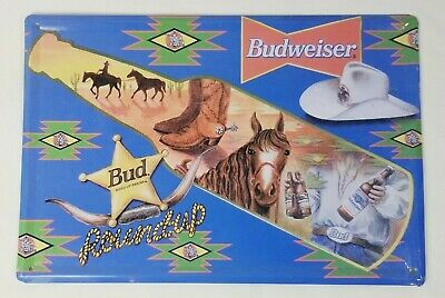 $ CDN12.58 • Buy Budweiser Tin Sign Alcohol Beer Man Cave Rodeo Round Up Retro Metal Signs Plaque